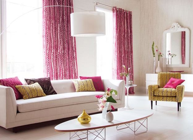 Charming Pink Theme Living Room, Bedroom and Kitchen Interior ...