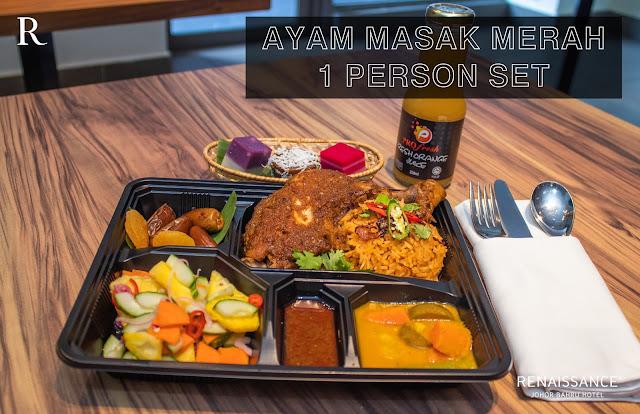 ayam masak merah set bazar makan-makan stay home takeaway renaissance johor bahru hotel