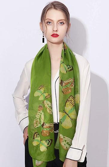 Best Green Chiffon Scarf with Pattern