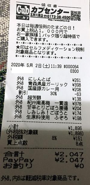カブセンター 五所川原店 2020/5/2 のレシート
