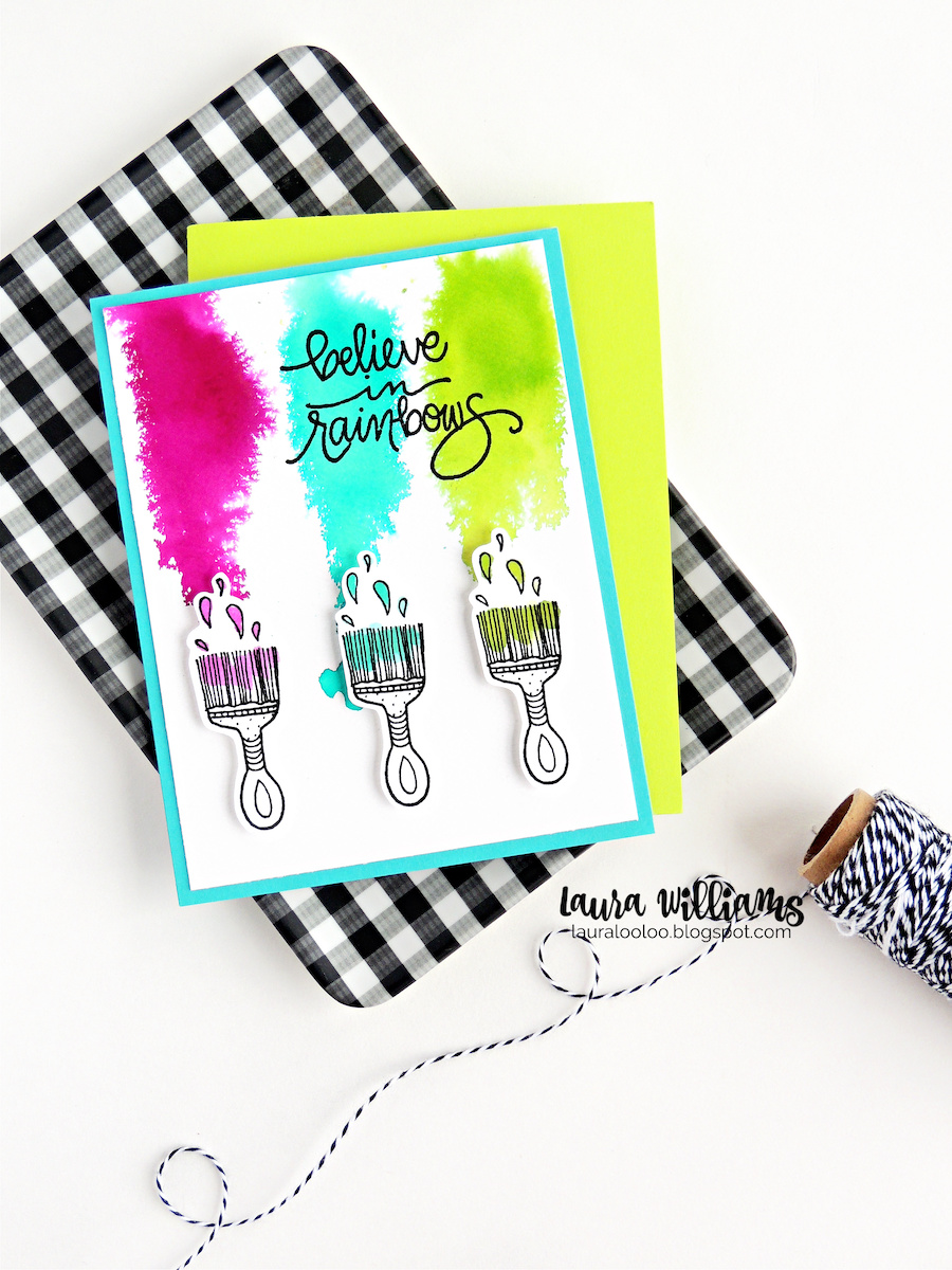 Believe in Rainbows. Visit my blog to see two bright and cheery cards using stamps from Impression Obsession. This card with paintbrushes was fun to make with splashes of watercolor using liquid dye ink in three colors.