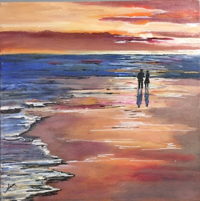 sunset, beach, oil painting
