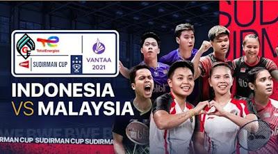 Jadwal dan Link Live Streaming Sudirman Cup 2021 Perempat Final Indonesia Vs Malaysia, Jumat 1 Oktober 2021 Pukul 20.00 WIB
