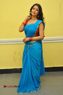 Telugu Actress Vaibhavi Stills in Blue Saree at Www.Meena Bazaar Movie Opening  0109.JPG