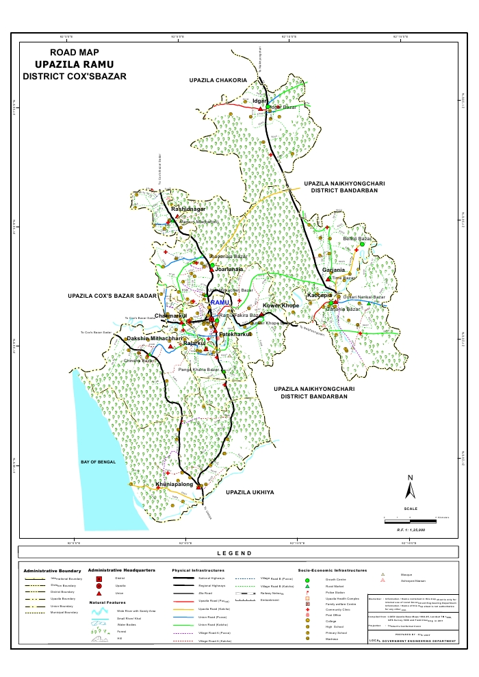 Ramu Upazila Road Map Cox's Bazar District Bangladesh