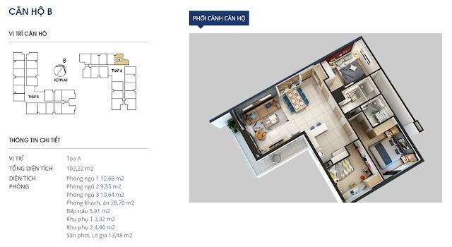 Thiết kế căn hộ B - 102m2 - Rivera Park