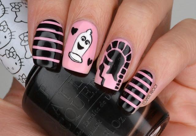 Trojan condom nail art