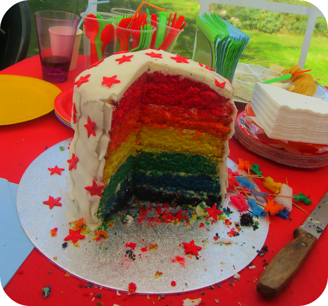 rainbow cake, seven layer rainbow cake, multicoloured sponge cake