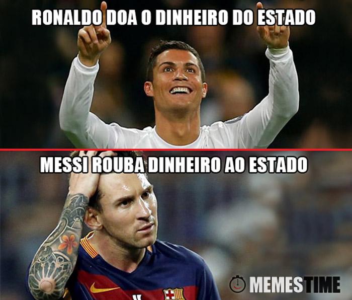 Meme Cristiano Ronaldo e Lionel Messi – Ronaldo Doa o Dinheiro do Estado, Messi rouba dinheiro ao estado.