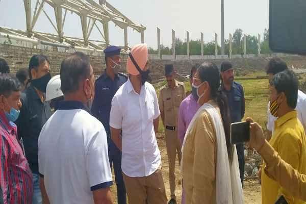 haryana-sport-minister-sandeep-singh-visit-naharsingh-stadium-news