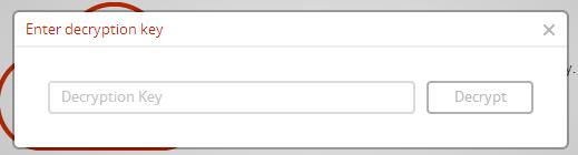 Ingresar clave de cifrado del archivo para poder descargarlo