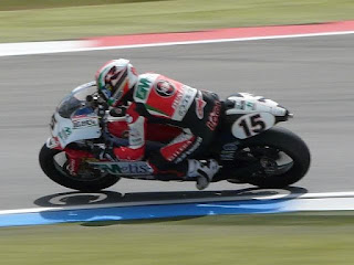Roberto Locatelli in action in the Dutch TT at Assen in 2008, riding a Gilera in the 250cc category