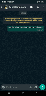 Tampilan Dalam Chat WhatsApp Dark Mode