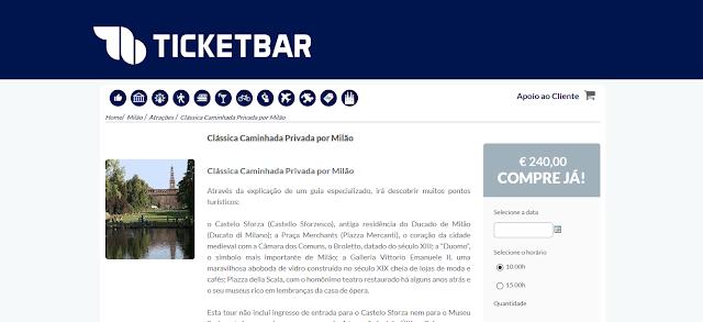 Ticketbar para ingressos para uma clássica caminhada privada por Milão