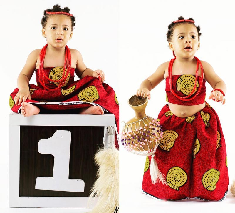 Aww! More photos of Flavour's baby Sofia Okolie who turned 1 yesterday