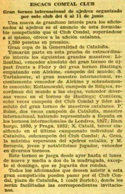 Recorte de El Diluvio, 7/6/1934