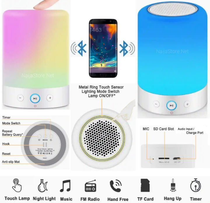 MrCool Bedside Lamp: RGB Nightlight with Bluetooth Speaker, FM Radio and Audio Player - Rechargeable Colorful LED Lights