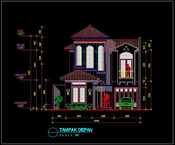 Download Desain Rumah 2 Lantai Autocad Gratis Blog Anak Teknik
