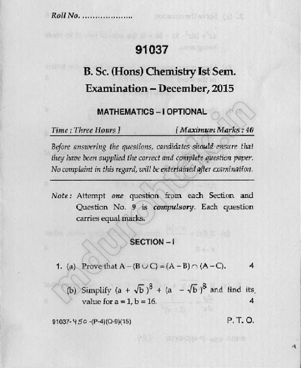 Download Math - 1 Optional - Question paper - B.Sc. (Hons.) - Chemistry - 1st semester - for free