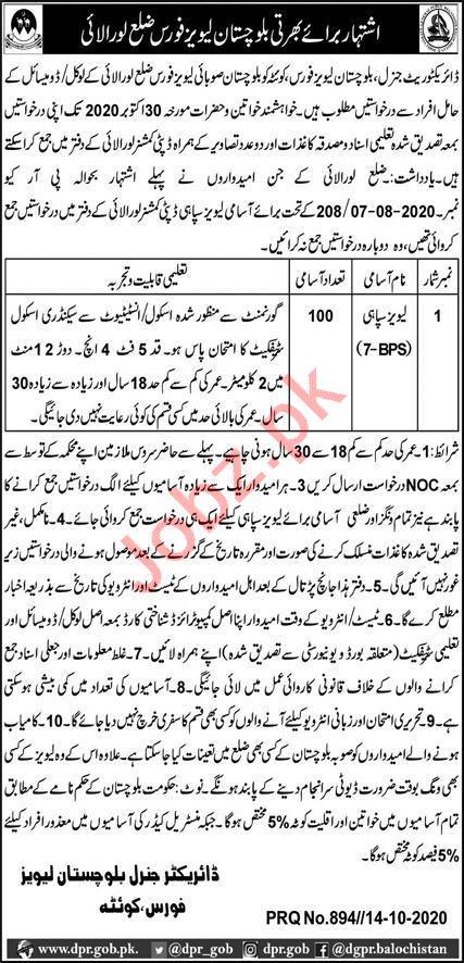 Levies Force  Balochistan Jobs 2020
