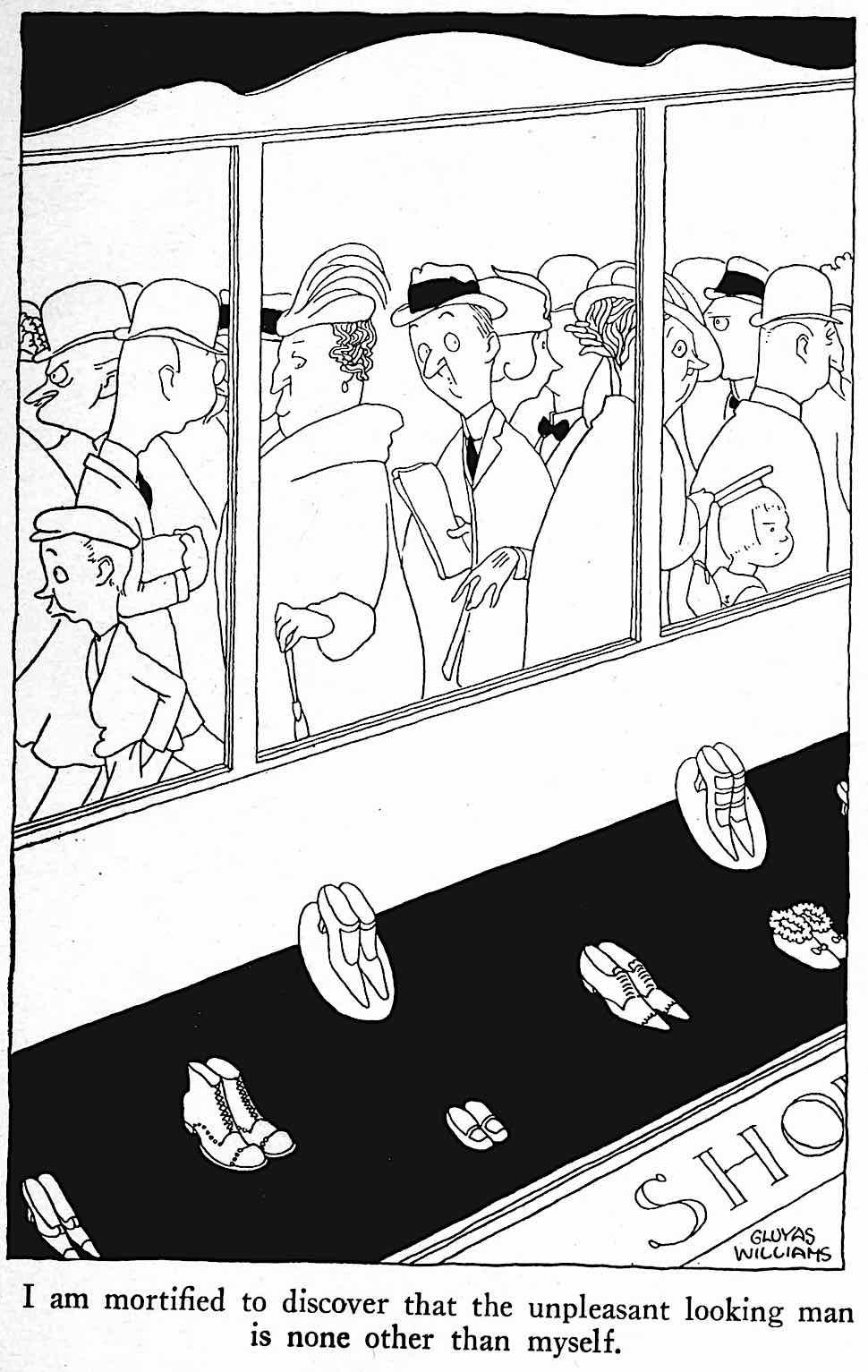 a Gluyas Williams cartoon about a self-conscious man in public