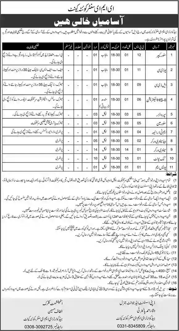 Govt Jobs in EME Center Quetta Cantt 2021 Latest Govt Jobs