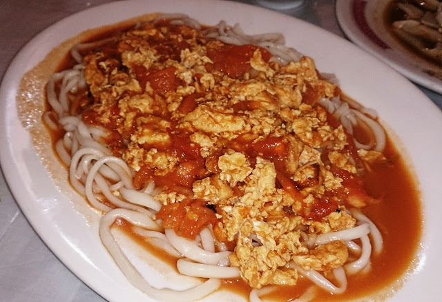 Lao Tuo Jia, Xinjiang, egg and tomato, handmade noodles