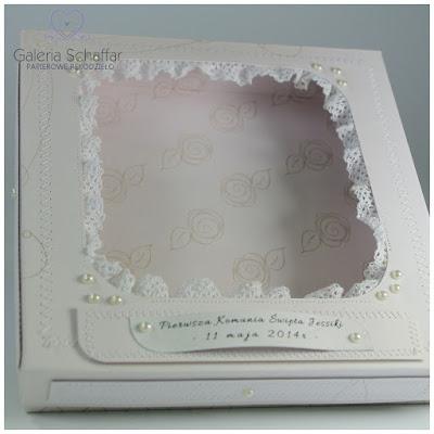 pudełeczko komunijne prezentowe pamiątka omunijna z koronką i tiulem galeria schaffar