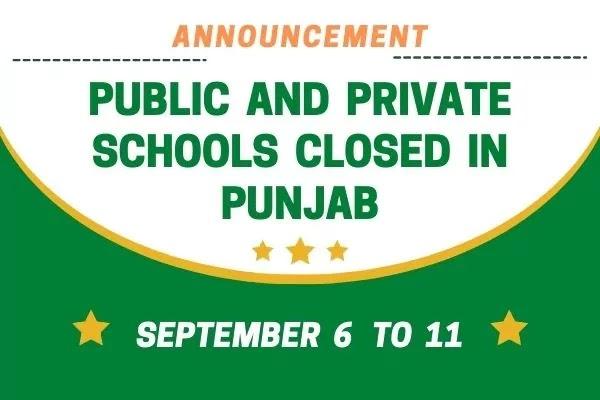 Public and Private Schools closed in Punjab