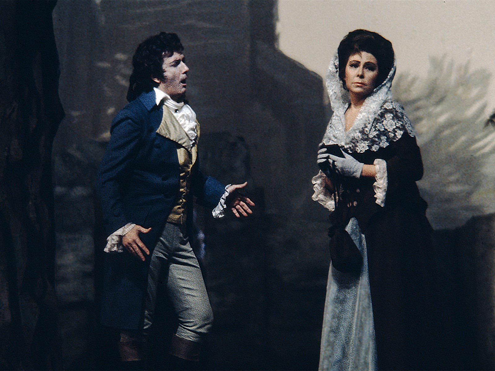 IN MEMORIAM: mezzo-soprano CHRISTA LUDWIG (1928 - 2021) as Charlotte (right) and tenor FRANCO CORELLI as the title character (left) in Jules Massenet's WERTHER at The Metropolitan Opera in 1971 [Photograph attributed to Louis Mélançon, © by The Metropolitan Opera]