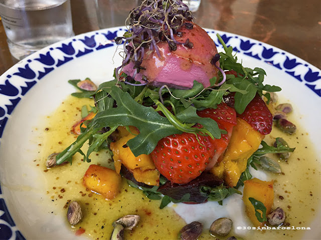 Colorful vegetarian salad in Flax and Kale restaurant