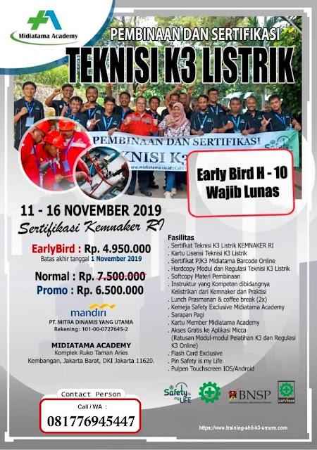 Teknisi K3 Listrik murah tgl. 11-16 November 2019 di Jakarta