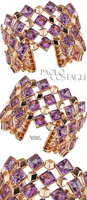 Brilliant Luxury♦Paolo Costagli 18ct Rose Gold Amethyst Very PC Cuff