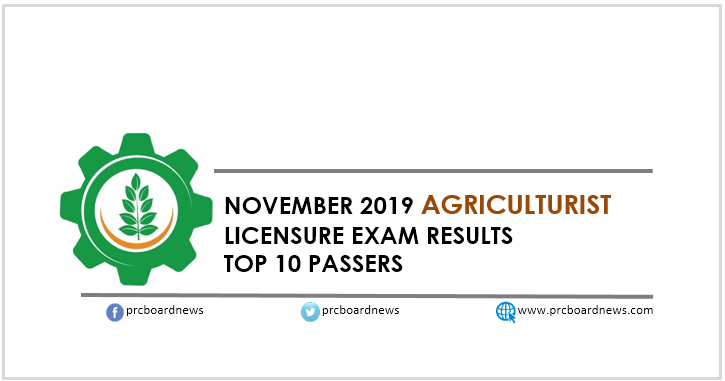 PRC RESULT: November 2019 Agriculturist board exam top 10 passers