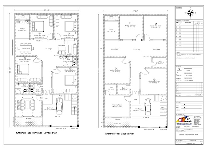 "9 Marla House Plan (37'-6"" x 66'-6"") _Khokhar Builder's"
