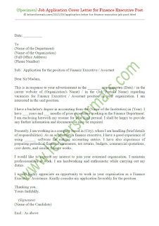 sample cover letter for finance executive position