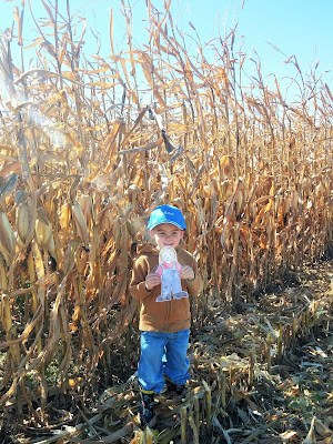 Flat Aggie learns about Corn Harvest in Iowa