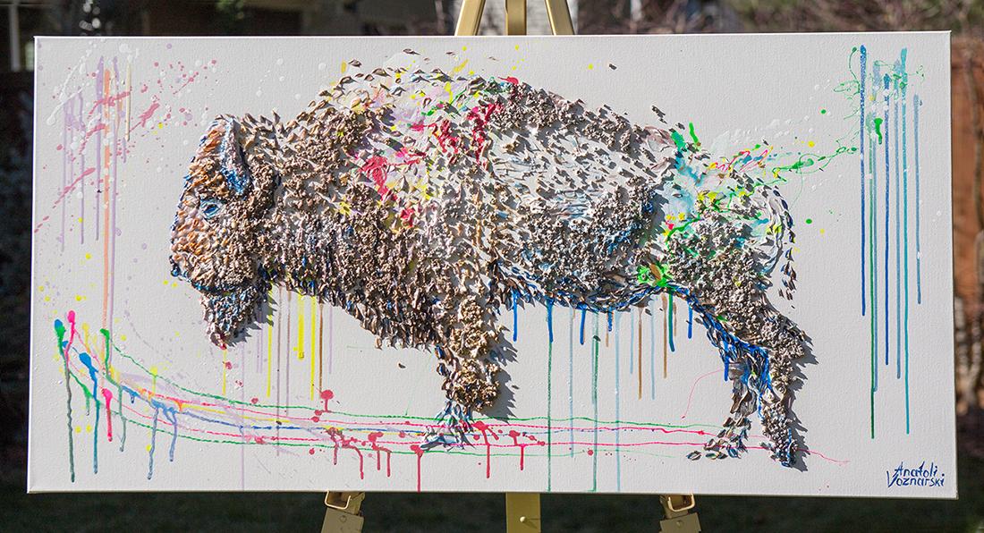 buffalo painting,buffalo unique texture, bizon painting,  buffalo voznarski, buffalo 3d artwork,  buffalo pop art, abstract buffalo painting, buffalo on canvas, buffalo mixed media ,buffalo 3d painting, buffalo acrylic on canvas,buffalo impasto,  buffalo 3d textured,
