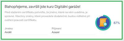 Blahopřání k završení kurzu Digitální garáže
