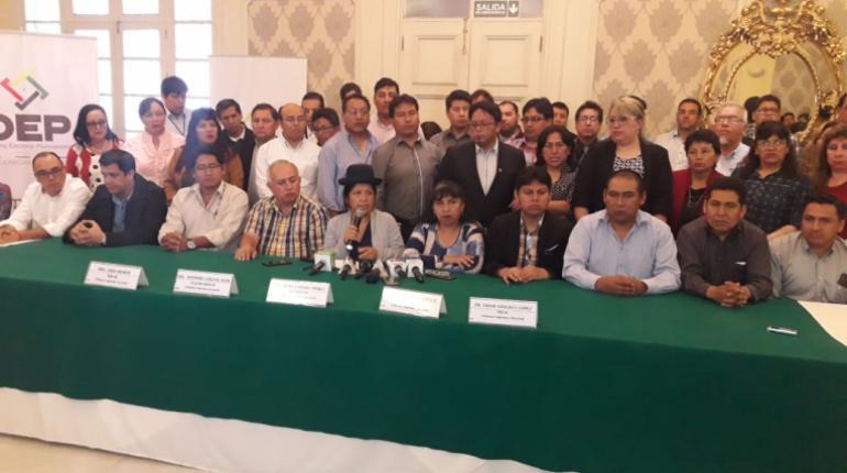 Vocales del TSE y presidentes departamentales en Cochabamba / LOS TIEMPOS