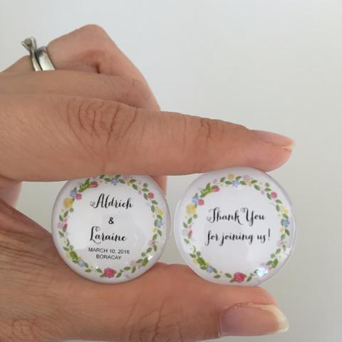 Personalised Wedding Favours With Glass Marble Magnets