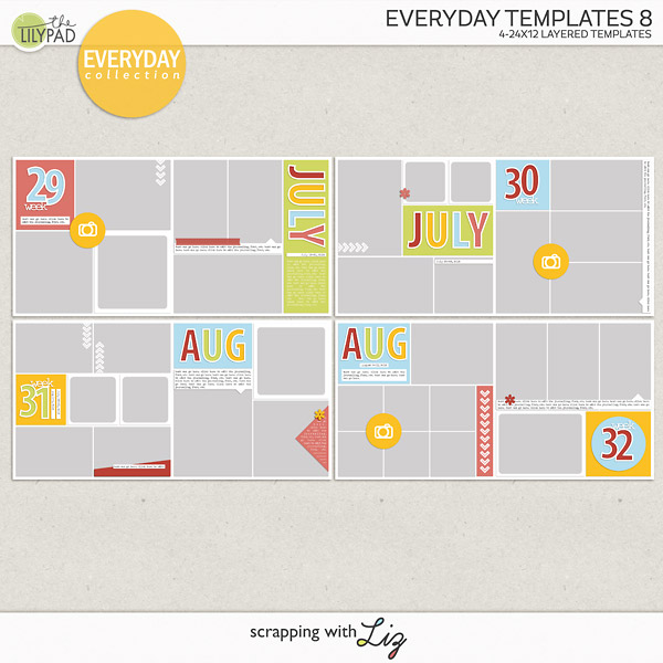 Everyday Templates 8 - Digital Scrapbook Templates