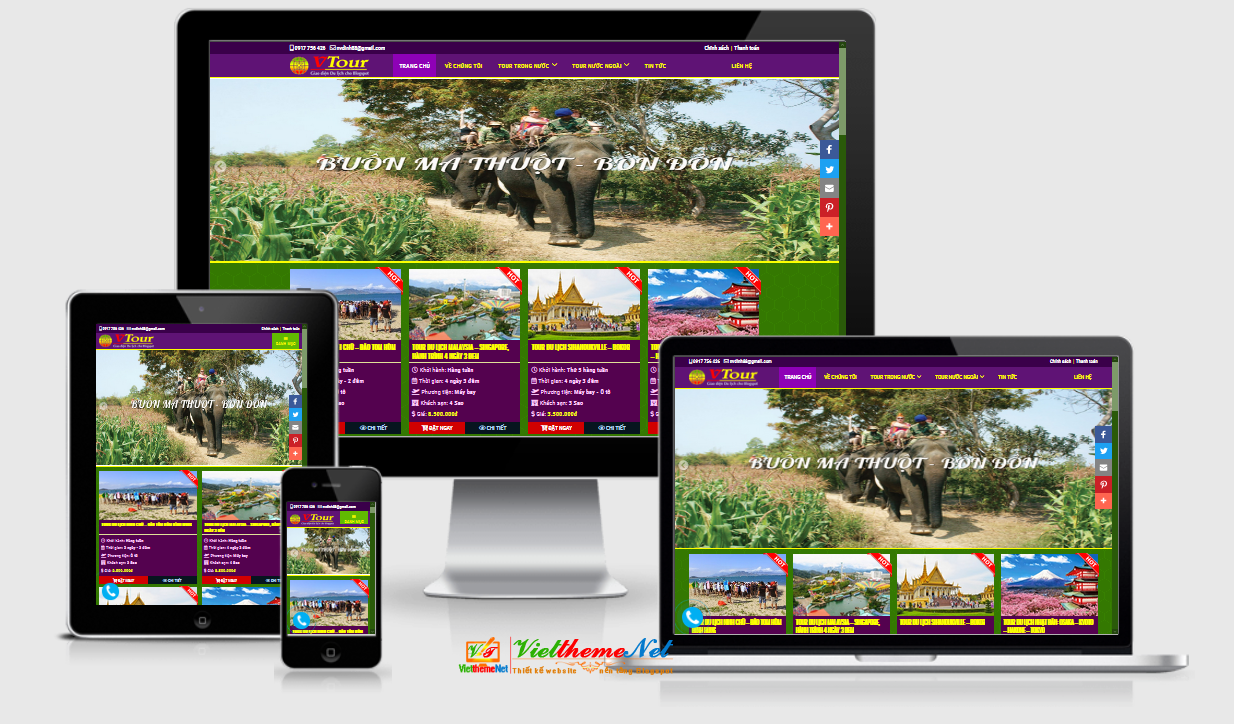 VTour - Mẫu giao diện Blogspot bán tour du lịch chuyên nghiệp