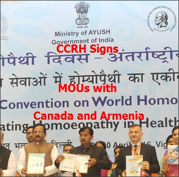 CCRH signs MOUs with Canada and Armenia on World Homeopathy Day