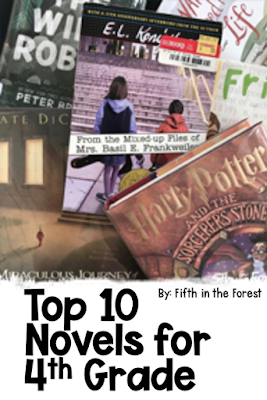 """Pin Image titled 'Top 10 Novels for Fourth Grade"""" the image features a pile of 10 read aloud books on a fourth grade level"""