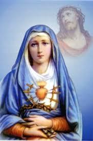 Representation de la Vierge Marie avec son cœur transpercé d'épées