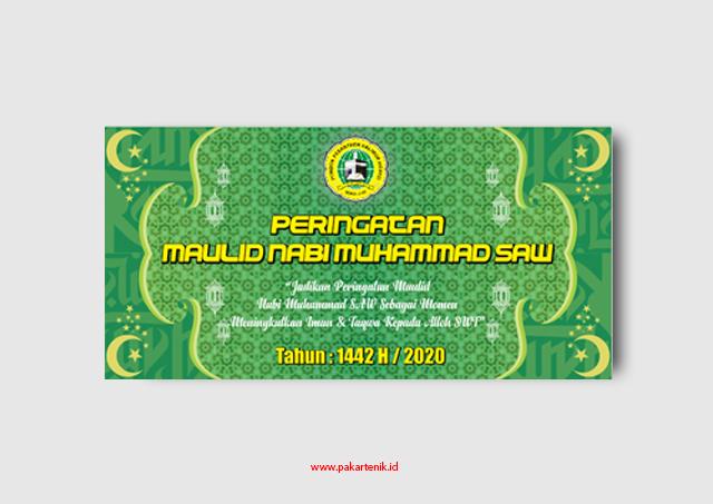 Download Banner Spanduk Maulid Nabi Muhammad SAW Format CDR dan AI