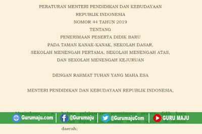 Permendikbud Nomor 44 Tahun 2019 Tentang PPDB TK, SD, SMP, SMA dan SMK