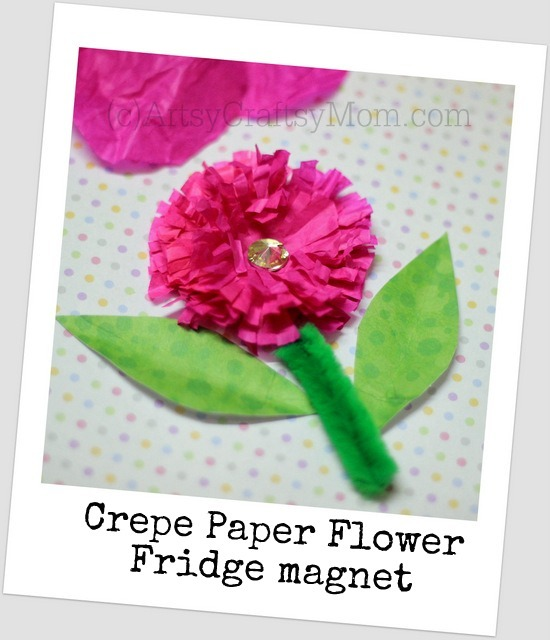 Mothers day craft crepe paper flower artsy craftsy mom this mothers day i made crepe paper flowers a magnet transformed this flower into a cute fridge magnet and i stuck another crepe paper flower onto card mightylinksfo