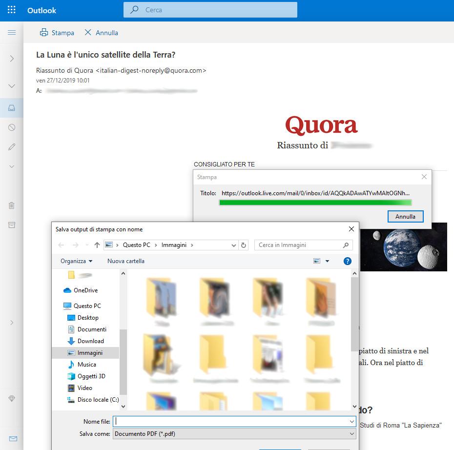 Selezione della cartella del file PDF della mail